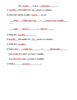 Solving Systems of Equations Word Problem Guided Notes