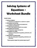 Solving Systems of Equations Worksheet Bundle