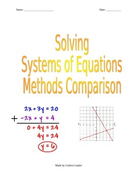 Solving Systems of Equations all 3 ways Comparison