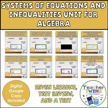Solving Systems of Equations and Inequalities Algebra Lessons Bundle