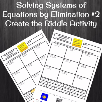 Solving Systems of Equations by Elimination #2 Create the Riddle Activity
