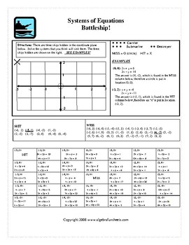 Solving Systems of Equations by Elimination Activity: Battleship