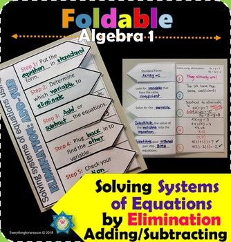 Solving Systems of Equations by Elimination (Add/Sub) Foldable
