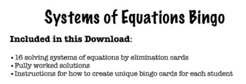 Solving Systems of Equations by Elimination Bingo