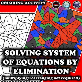 Solving System of Equations by Elimination Coloring Activity