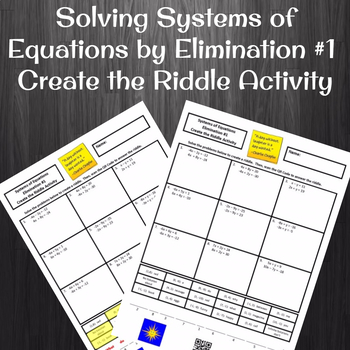 Solving Systems of Equations by Elimination Create a Riddle Activity