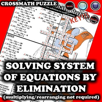 Solving System of Equations by Elimination Crossword Puzzle