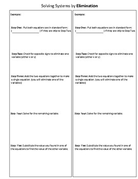 Solving Systems of Equations by Elimination Graphic Organizer