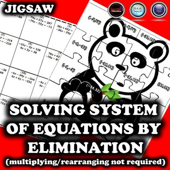 Solving System of Equations by Elimination Jigsaw Puzzle