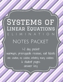 Solve Systems of Equations by Elimination - Notes (Worksheets)