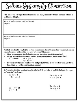 Solving Systems of Equations by Elimination Notes and Homework