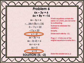 Solving Systems of Equations by Elimination - PowerPoint