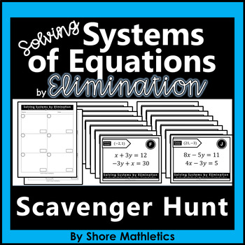 Solving Systems of Equations by Elimination Scavenger Hunt Activity