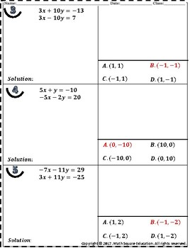 Solving System of Equations by Elimination Student Practice