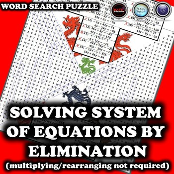 Solving System of Equations by Elimination Wordsearch Puzzle