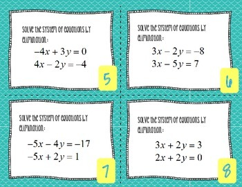 Solving Systems of Equations by Elimination and Substitution Task Cards
