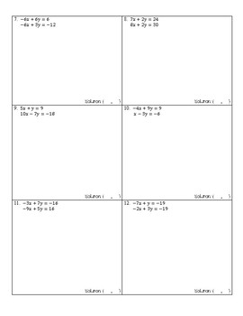 Solving Systems of Equations by Elimination (including multiplication) Worksheet