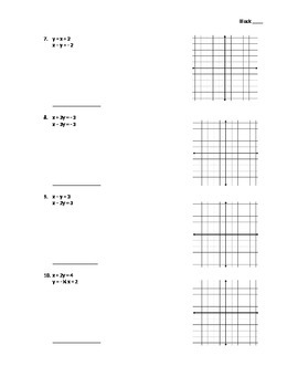 Solving Systems of Equations by Graphing - Assignment
