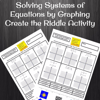 Solving Systems of Equations by Graphing Create a Riddle Activity