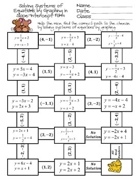 solving systems of equations by graphing maze - Solving Systems Of Equations By Graphing Worksheet