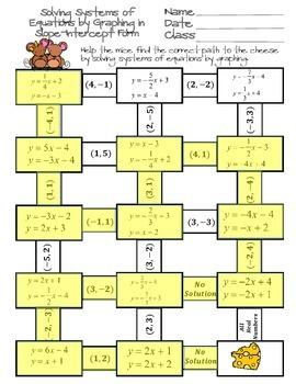 Solving Systems of Equations by Graphing Maze