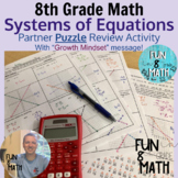 8th Grade Math Solving Systems by Graphing Partner Puzzle Review Activity