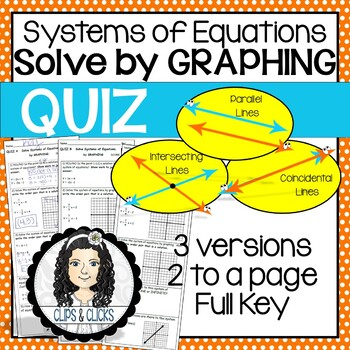 Solving Systems of Equations by Graphing QUIZ (3 versions)