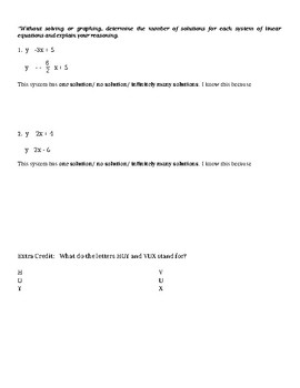 Solving Systems of Equations by Graphing Quiz