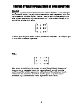 Solving Systems of Equations by Row Reduction - A Tutorial