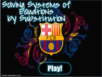 Solving Systems of Equations by Substitution (Barcelona Team PowerPoint Game)