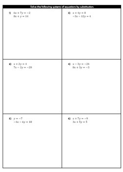 Solving Systems of Equations by Substitution Bundle