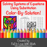 Solving Systems of Equations by Substitution Color-By-Number!