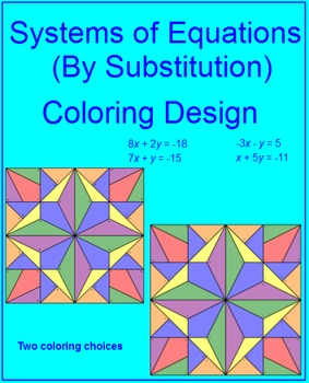 Solving Systems of Equations by Substitution - Coloring Activity