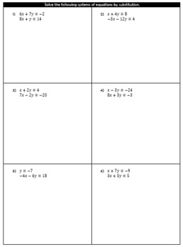 Solving Systems of Equations by Substitution Guided Notes and HW