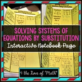 Solving Systems of Equations by Substitution: Interactive Notebook Pages