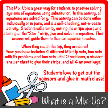Solving Systems of Equations by Substitution Mix-Up! (All Solved for y)