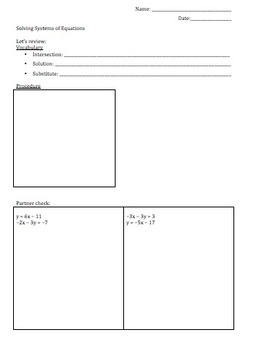 Solving Systems of Equations by Substitution Notes and Tic-Tac-Practice Activity