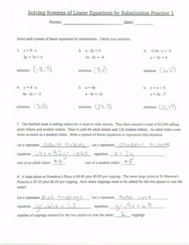Solving Systems of Equations by Substitution Practice 1