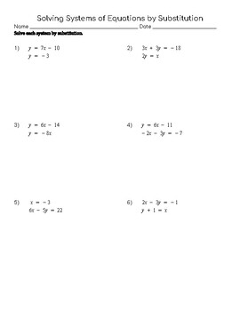 Solving Systems of Equations by Substitution Practice
