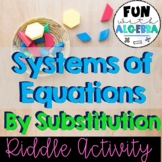 Solving Systems of Equations by Substitution Riddle Activity