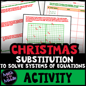 Solving Systems of Equations by Substitution - Christmas Math Activity