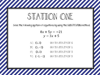 Solving Systems of Equations by Substitution - Stations Activity