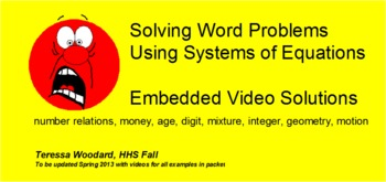 Solving Systems of Equations embedded Video Solutions