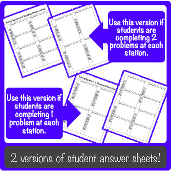 Solving Systems of Equations in 3 Variables Station Activity!