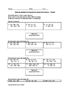 Solving Systems of Equations using Elimination - Leveled Worksheet