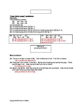 Solving Systems of Equations using Elimination - Leveled Worksheet