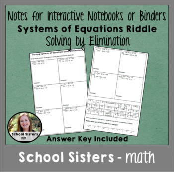 Solving Systems of Equations using Elimination Riddle