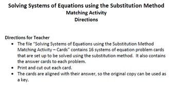 Solving Systems of Equations using the Substitution Method - Matching Activity