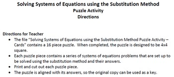 Solving Systems of Equations using the Substitution Method - Puzzle Activity