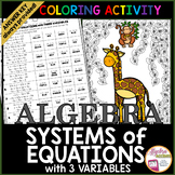Systems of Equations with 3 Variables Coloring Activity